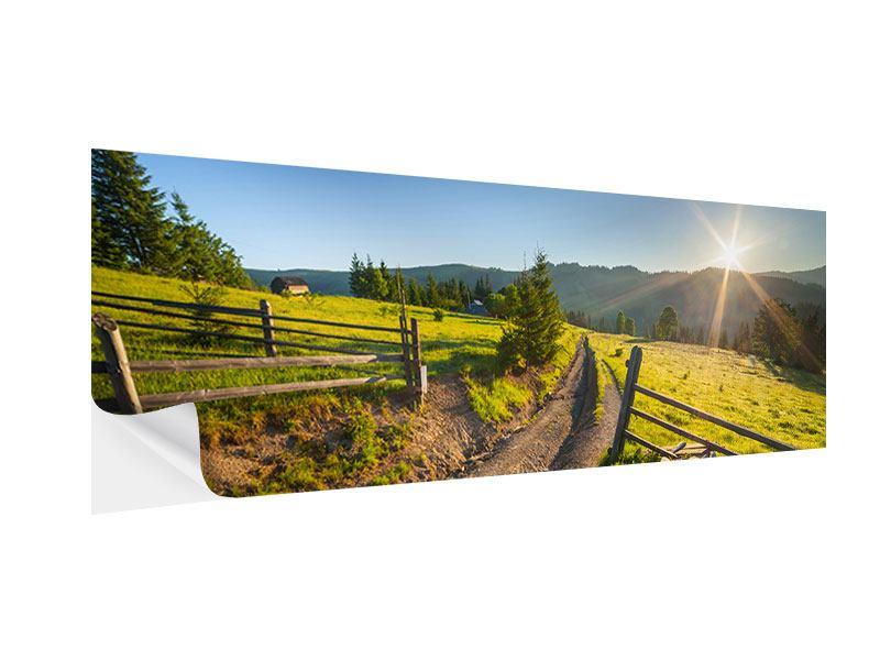 Klebeposter Panorama Sonnenaufgang am Berg