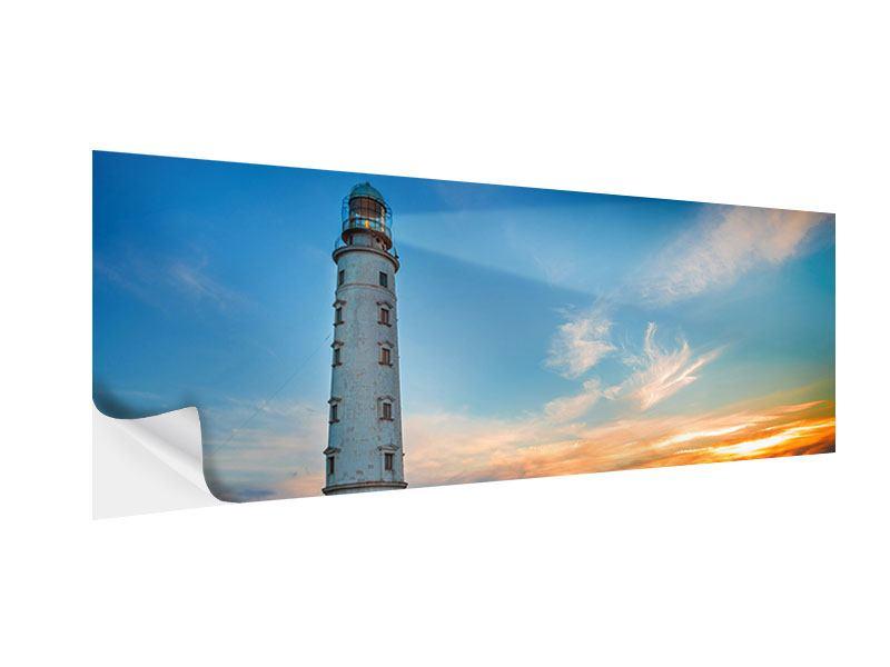 Klebeposter Panorama Sonnenuntergang am Leuchtturm
