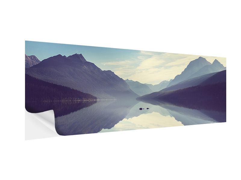 Klebeposter Panorama Bergspiegelung