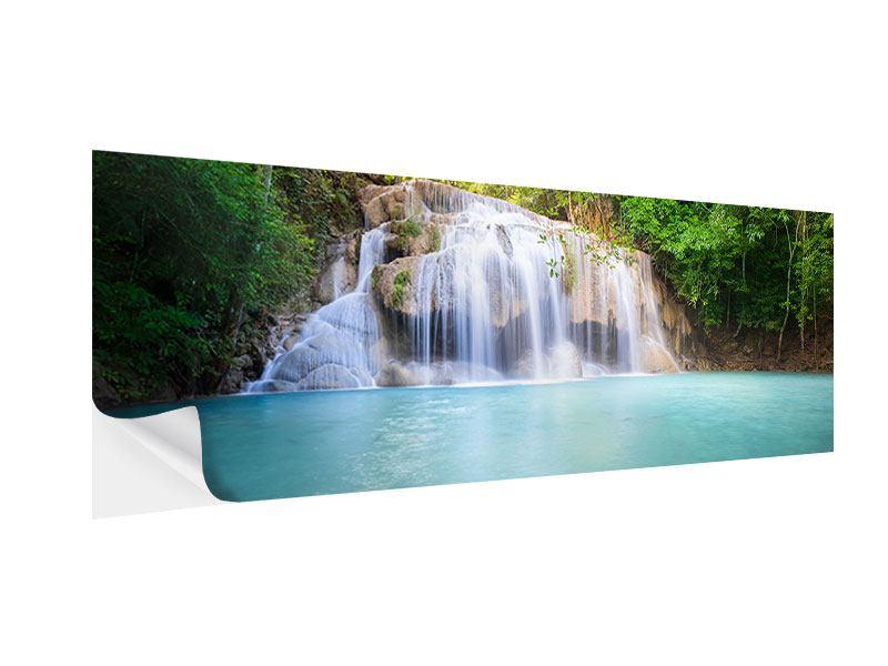 Klebeposter Panorama Terrasse am Wasserfall