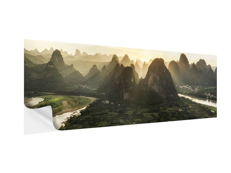 Klebeposter Panorama Die Berge von Xingping