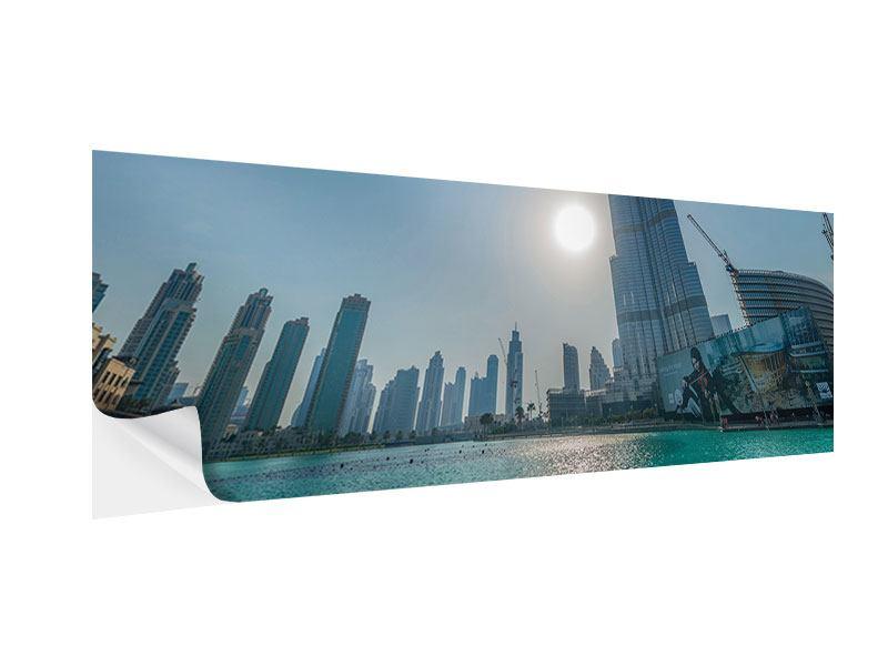 Klebeposter Panorama Wolkenkratzer-Architektur Dubai