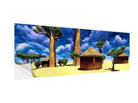 Klebeposter Panorama Ein Dorf in Afrika
