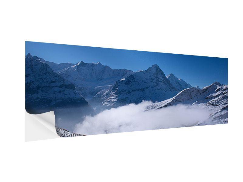 Klebeposter Panorama Sonnenterrasse in den Schweizer Alpen