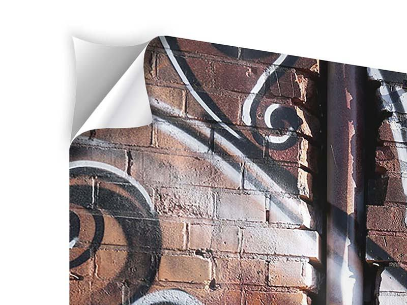 Klebeposter Panorama Graffiti Mauer