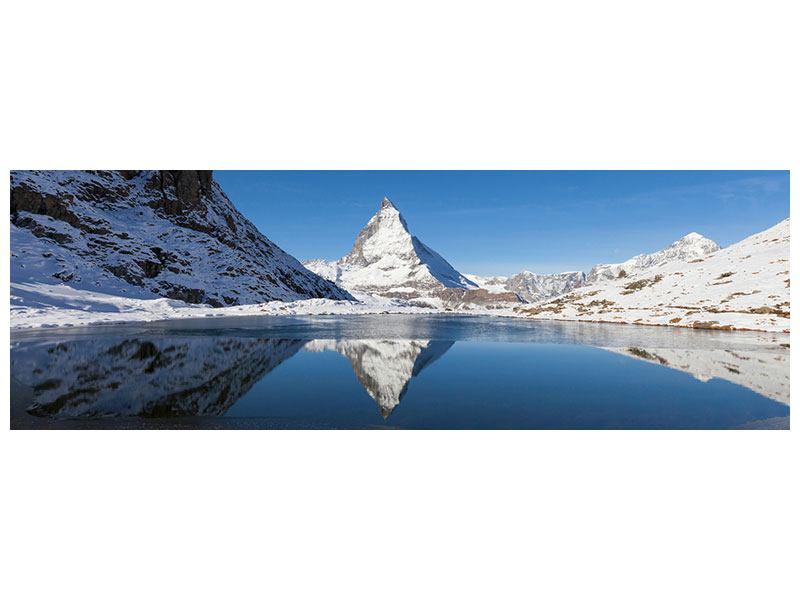 Klebeposter Panorama Der Riffelsee am Matterhorn