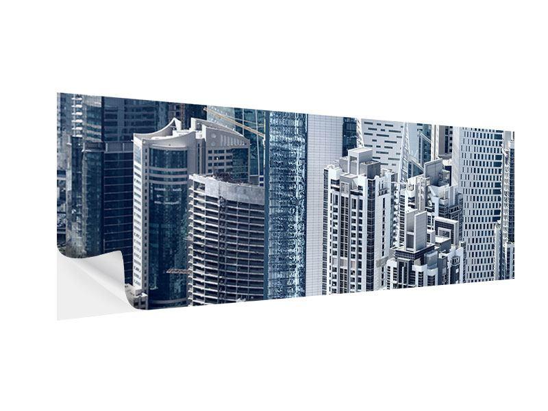 Klebeposter Panorama Die Wolkenkratzer von Dubai