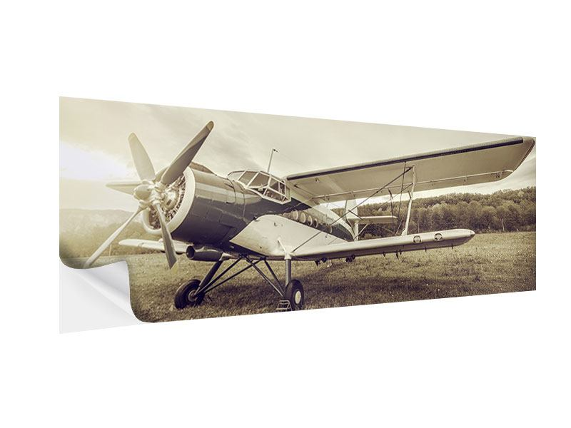 Klebeposter Panorama Nostalgisches Flugzeug im Retrostyle