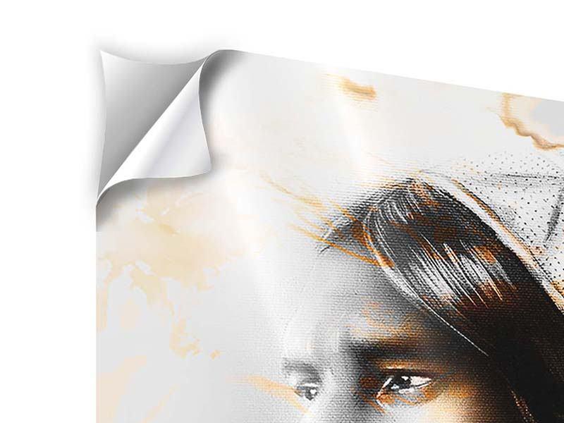 Klebeposter Panorama Kunstvolles Indianer-Portrait
