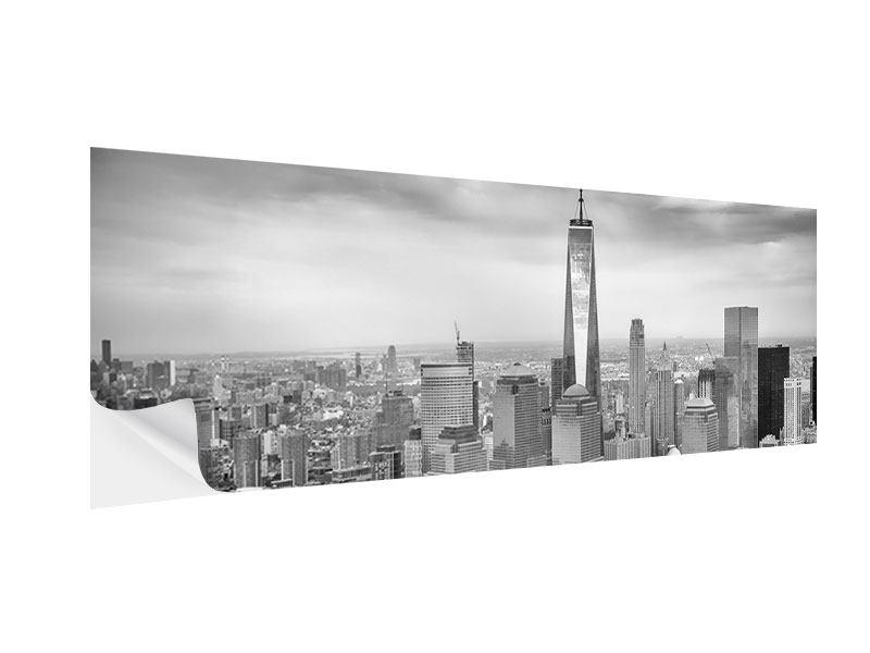 Klebeposter Panorama Skyline Schwarzweissfotografie New York