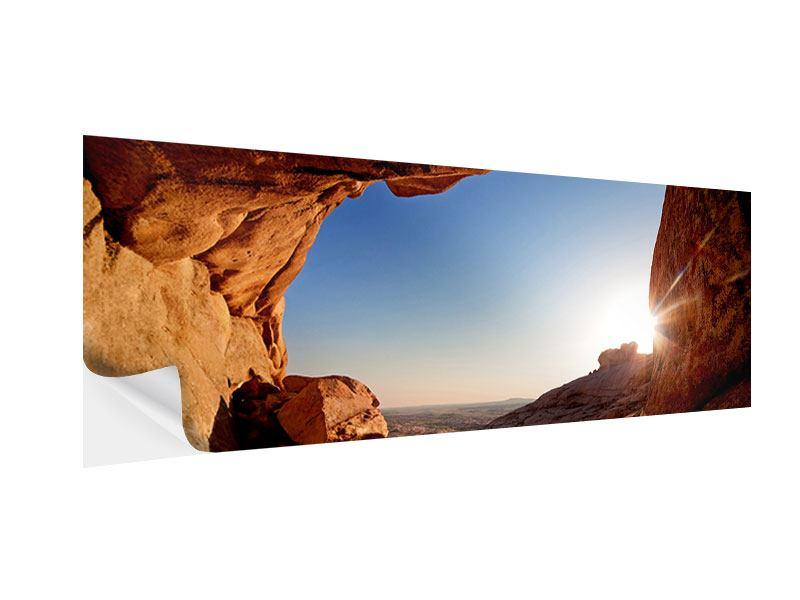 Klebeposter Panorama Sonnenuntergang vor der Höhle