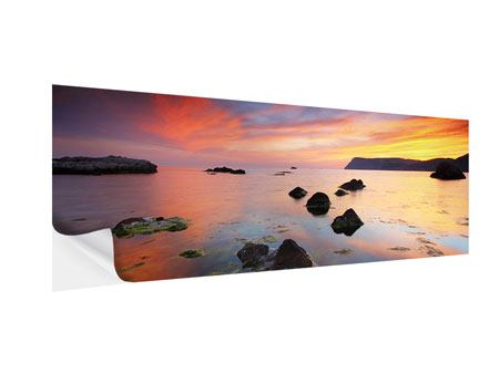 Klebeposter Panorama Ein Sonnenuntergang am Meer