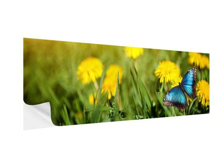 Klebeposter Panorama Der Löwenzahn und der Schmetterling