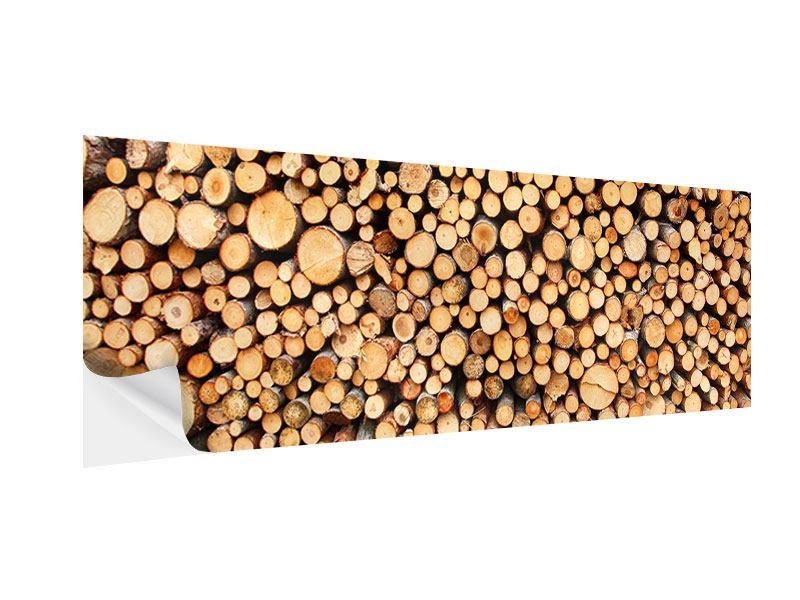 Klebeposter Panorama Holzstämme