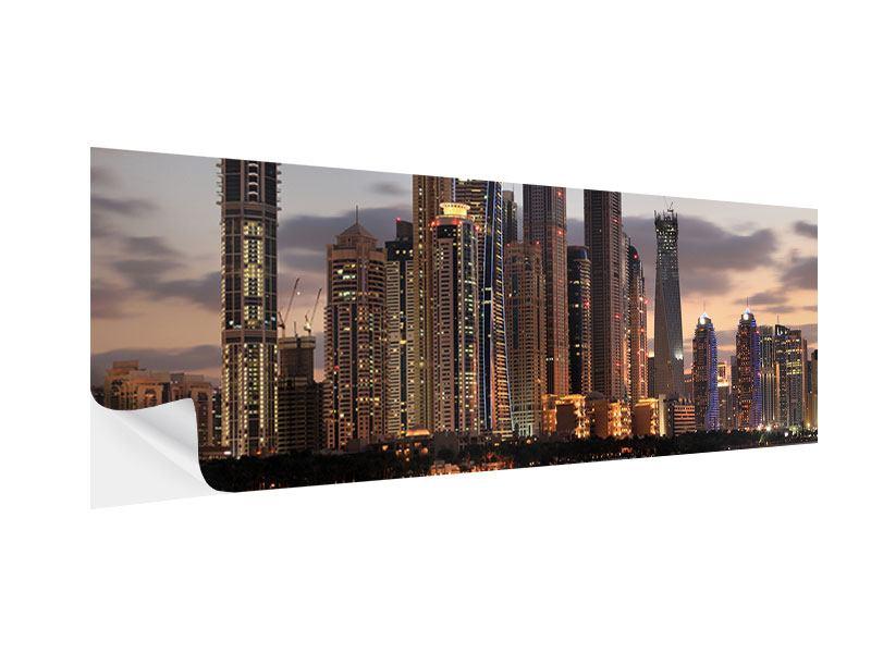 Klebeposter Panorama Skyline Dubai bei Sonnenuntergang