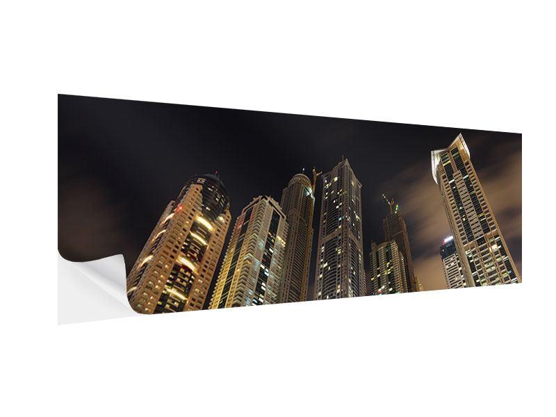 Klebeposter Panorama Wolkenkratzer Dubai Marina