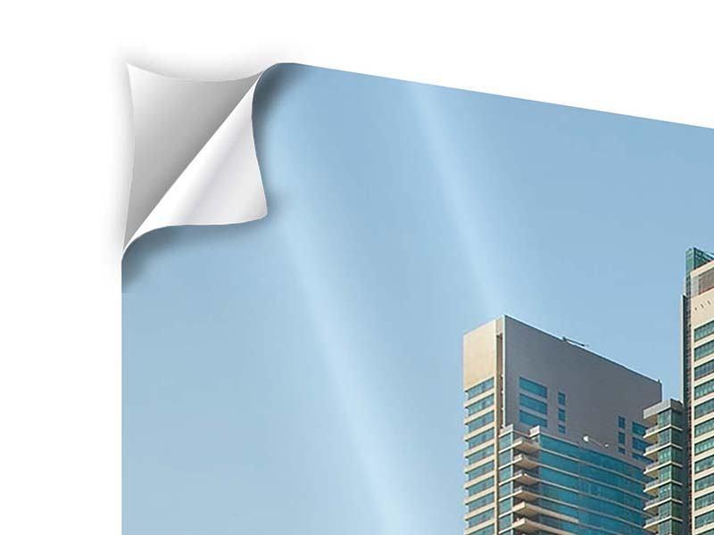 Klebeposter Panorama Spektakuläre Wolkenkratzer Dubai