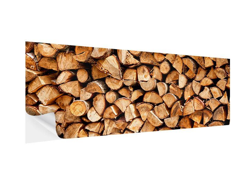 Klebeposter Panorama Gestapeltes Holz