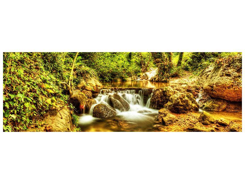 Klebeposter Panorama Wasserfall im Wald