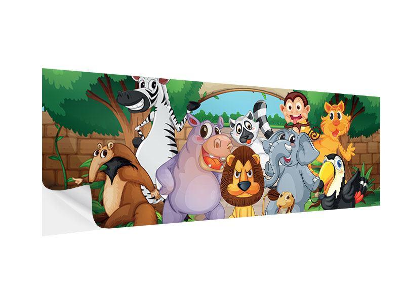 Klebeposter Panorama Der lustige Zoo