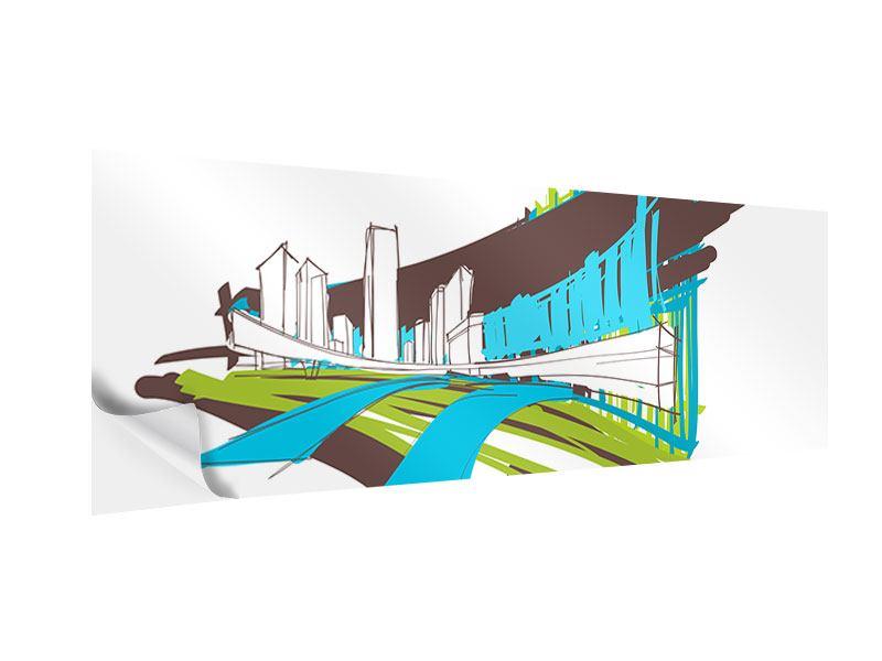 Klebeposter Panorama Graffiti Street-Art