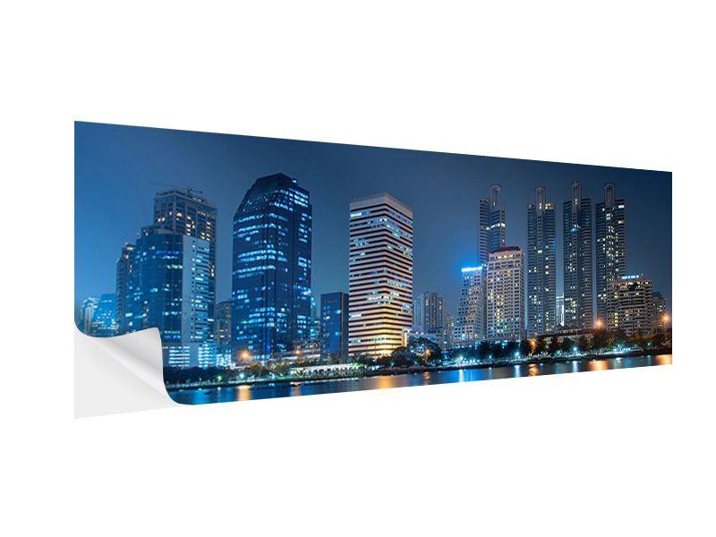 Klebeposter Panorama Skyline Bangkok bei Nacht