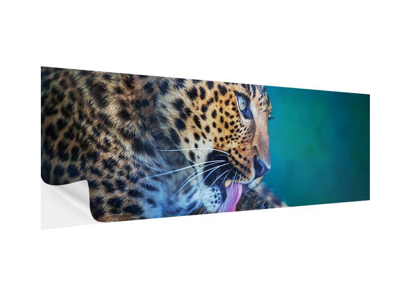 Klebeposter Panorama Leopard XL