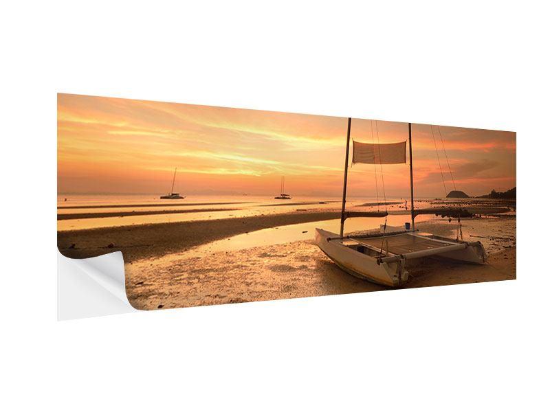 Klebeposter Panorama Sonnenuntergang am Strand