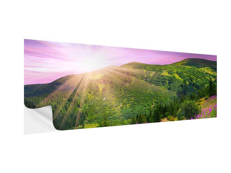 Klebeposter Panorama Eine Sommerlandschaft bei Sonnenaufgang