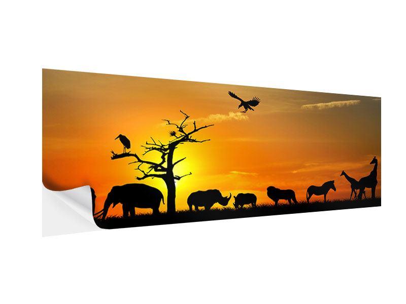 Klebeposter Panorama Safarietiere bei Sonnenuntergang