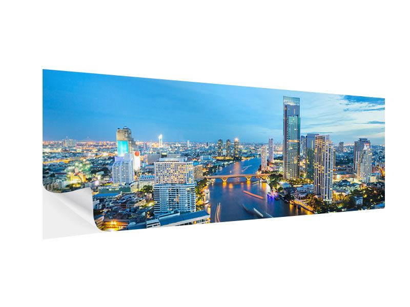Klebeposter Panorama Skyline Bangkok in der Abenddämmerung