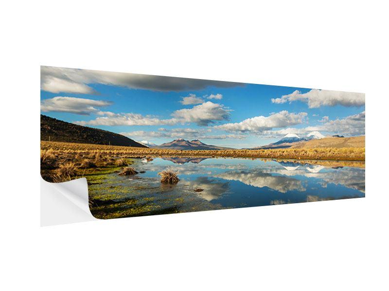 Klebeposter Panorama Wasserspiegelung am See
