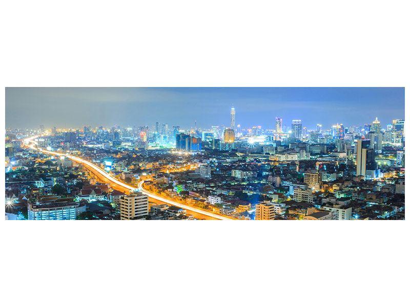 Klebeposter Panorama Skyline Bangkok im Fieber der Nacht