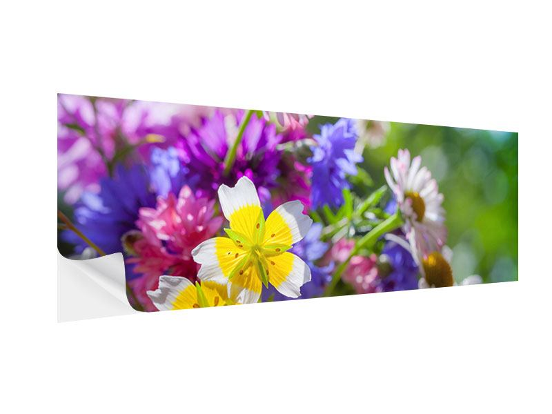 Klebeposter Panorama XXL Gartenblumen