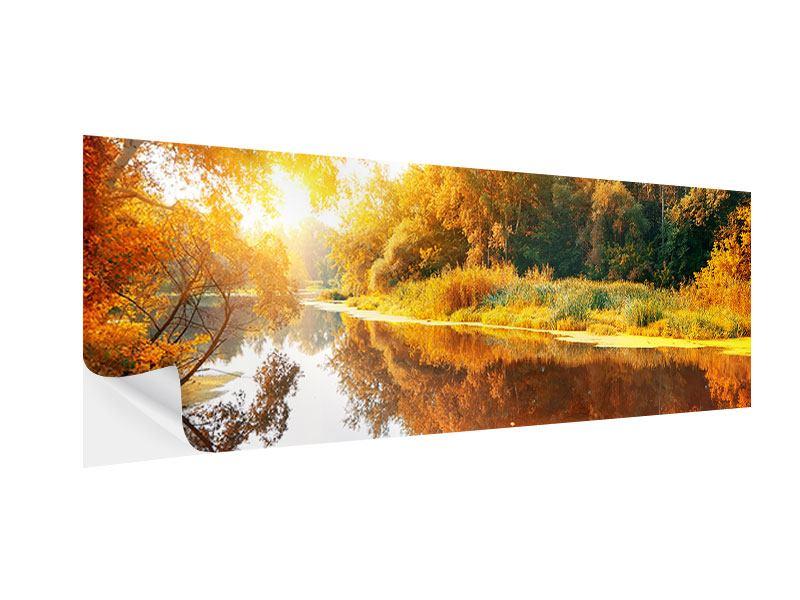 Klebeposter Panorama Waldspiegelung im Wasser