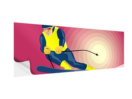 Panoramic Self-Adhesive Poster Retro Skier