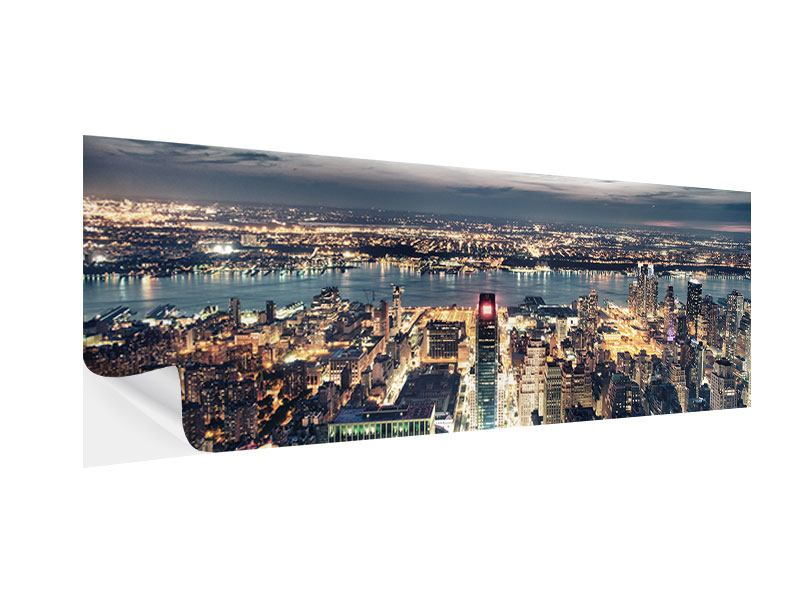 Klebeposter Panorama Skyline Manhattan Citylights