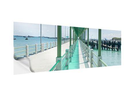 Klebeposter Panorama Die Brücke am Meer