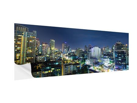 Klebeposter Panorama Skyline Nachts in Bangkok