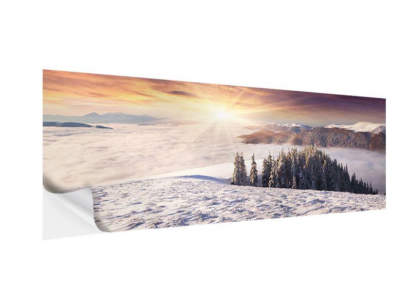 Klebeposter Panorama Sonnenaufgang Winterlandschaft