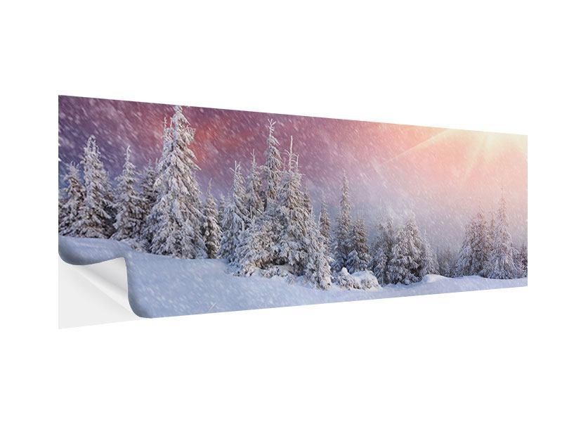 Klebeposter Panorama Mystischer Schneesturm