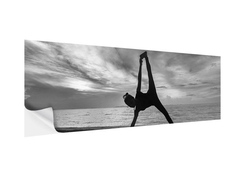 Klebeposter Panorama Yoga am Strand