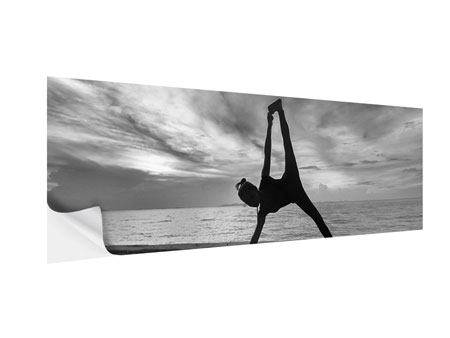 Klebeposter Panorama Yoga am Strand
