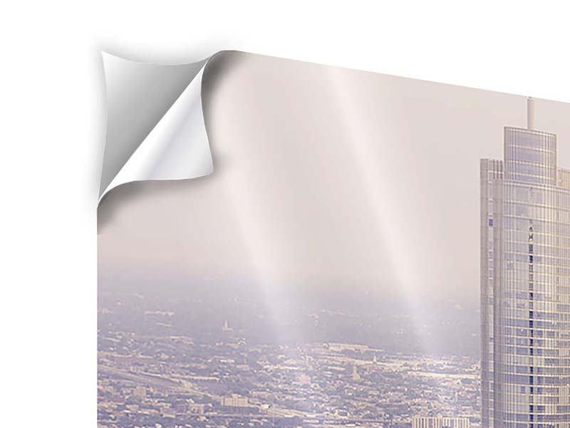 Klebeposter Panorama Skyline Chicago in Sepia