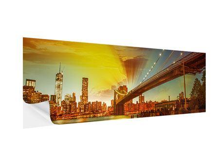Klebeposter Panorama Skyline Brooklyn Bridge NY