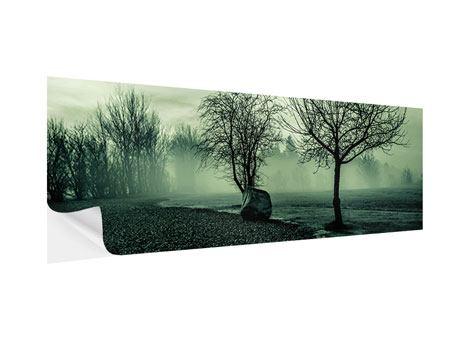 Klebeposter Panorama Der Auwald im Nebel