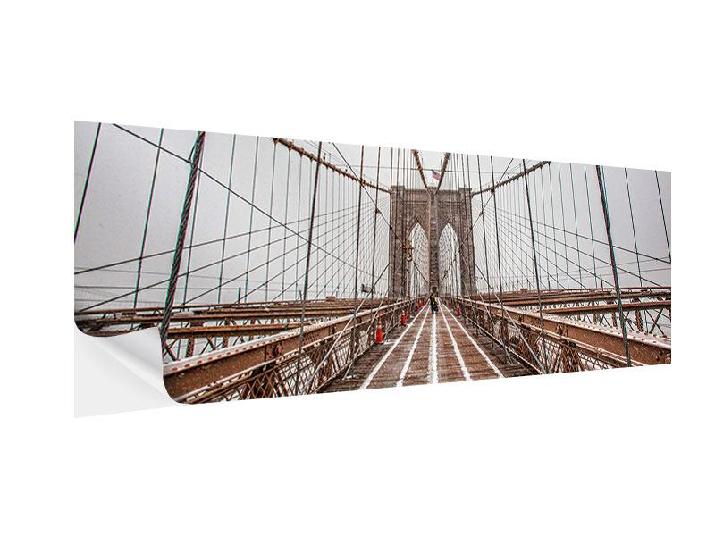 Klebeposter Panorama Auf der Brooklyn Bridge