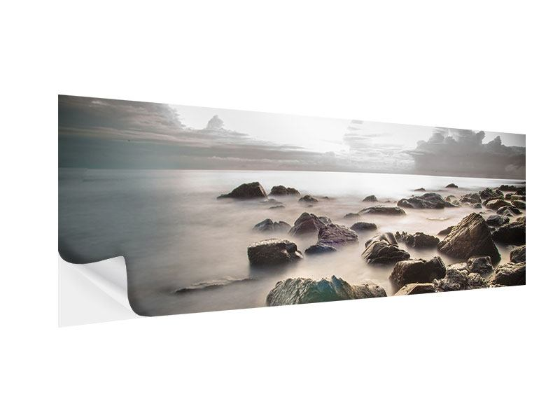 Klebeposter Panorama Steine am Strand