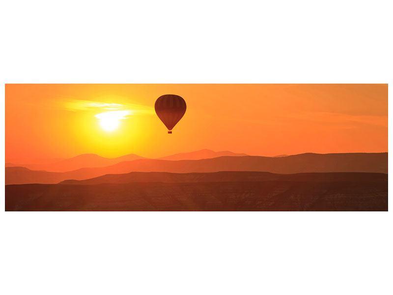 Klebeposter Panorama Heissluftballon bei Sonnenuntergang