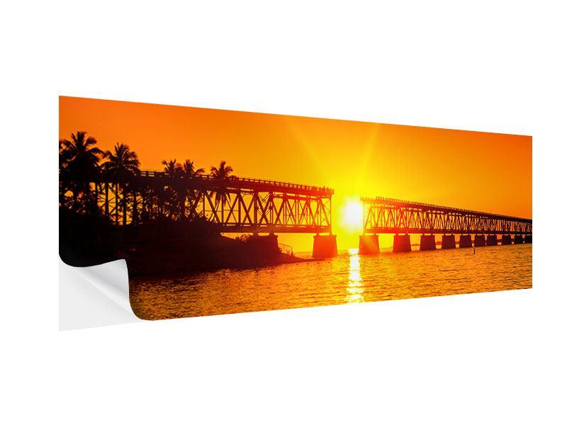 Klebeposter Panorama Sonnenuntergang an der Brücke